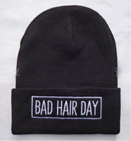 2014  Winter hat Bad Hair Day Beanie Cap Men Hat  Skullies  knitted hats For Women Fashion Caps Hot Sale Gorros Bonnets