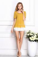 Korean Women Summer New 2014 Blouse Shirt Chiffon Short Puff Sleeve Clothing Fashion Girl Shirts Top Casual Dropshiping