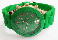 Dark Green Geneva New Dress Watch 2014 Quartz Military Men Silicone Sport Watches Unisex Wristwatch Free shipping 010