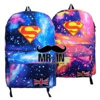 Harajuku  shoulder bags Star superman cartoon mochilas canvas backpack  galaxy laptop backpack couple's bag