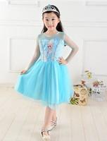 OISK New 2014 Custom-made Movie Cosplay dress Summer Girl dress Costume Princess Elsa Dress from Frozen for Children