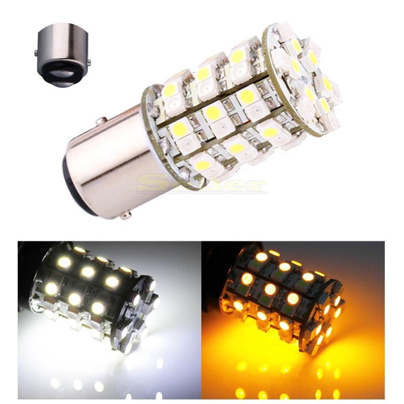 10pcs 1157 Switch back 60 SMD White / Amber Turn Signal Tail Brake 60 LED Light Bulb(China (Mainland))