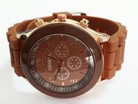 Coffee Geneva Women Dress Watch 2014 Quartz Military Men Silicone Sport Watches Unisex Wristwatch Free shipping 012