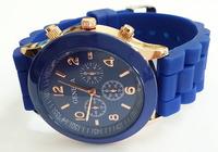 Dark Blue Geneva Dress Watch 2014 Quartz Military Men Silicone Sport Watches Unisex Wristwatch Free shipping 011