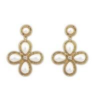 YXSP1581        2014 new fashion  The elegant four-leaf flower pearls     earring for women