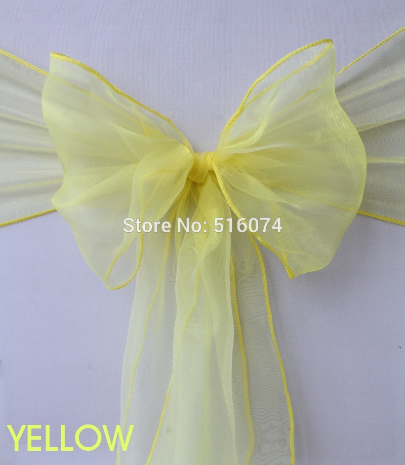 "100 pieces 8"" x 108"" 22cm x 275cm Yellow Wedding Party Banquet Chair Organza Sash Decoration Supplies - FREE SHIPPING(China (Mainland))"