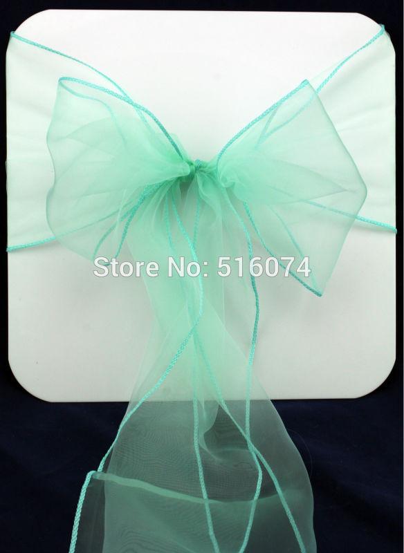"100 pieces 8"" x 108"" 22cm x 275cm Mint Green Wedding Party Banquet Chair Organza Sash Decoration Supplies - FREE SHIPPING(China (Mainland))"