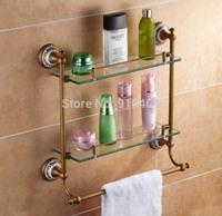 Free shipping Wholesale And Retail Promotion Bathroom Antique Brass Ceramic Bathroom Shelf Dual Tiers Glass Cosmetic Shelf