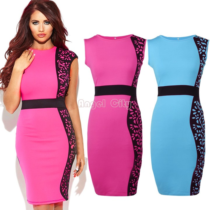 2014 New Arrival Women Summer dress Slim Tunic print Floral dresses Party Plus Size sexy bodycon dress Pink/Blue B11 SV001987(China (Mainland))