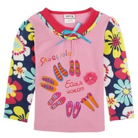 FREESHIPPING F4192# 18m/6y NOVA kids wear cartoons clothing peppa pig and butterfly 2014 new long sleeve T-shirts for baby girl