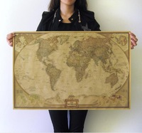 Free shipping  Large Size Vintage Style Kraft Paper Retro Poster Home decoration 71* 46.5cm (28*18inch) Sticker Map Of The World