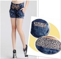 2014 Lady Women Jeans Leopard Print Bow Simple Mid-waist Elastic Cuffs Ladies Jean Fashion Cotton Pencil Pants Denim