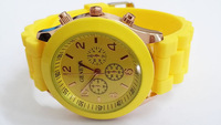 Yellow Geneva New Women Dress Watch 2014 Quartz Military Men Silicone Sport Watches Unisex Wristwatch Free shipping 009