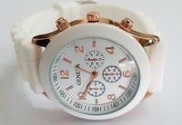 White Geneva New Women Dress Watch 2014 Quartz Military Men Silicone Sport Watches Unisex Wristwatch Free shipping 001