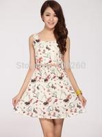Free Shipping summer Fashion Women's Clothing Print Casual preppy Style Sundress Mini geometric Dress retro Without Belt 5828