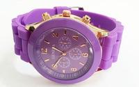 Purple Geneva New Women Dress Watch 2014 Quartz Military Men Silicone Sport Watches Unisex Wristwatch Free shipping 004