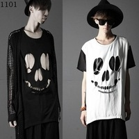 2014 male summer short t-shirt slim t-shirt cutout skull t-shirt casual