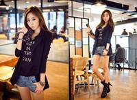 Free Shipping new 2014 HOT Suit Tops Blazer Women Jackets Chiffon Coat Contrast Neck Korean Style Long Sleeve white black #5832