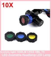 10piece 5colors light 1800LM CREE XML T6 LED Zoomable Headlamp LED Lamp Flashlight Light Headlight Bicycle Light Torch + charger