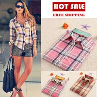 High Quality  fashion tops blouse for women blouse Colorful Long Sleeve Cotton shirt  ladies plus size plaid women shirt