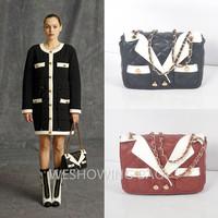 2014 Clothing Style Designer Lattice Pattern Chain Shoulder Tote Bag Faux Leather Women Ladies Plaid Handbag Black Red Purple