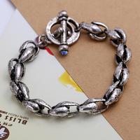 Retro chains 19cm bracelet Men's Jewelry Tibetan silver 0.8cm bangle H015 gift box free shipping