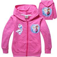 Free shipping girls Frozen hoodies kids cartoon princess Elsa Anna Olaf hoody clothing baby long sleeve sweatshirts
