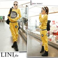 Free shipping 2014 spring slim long sleeve casual sports length pants sweatshirt sports set female Plus velvet warm