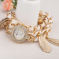New Geneva Fashion women rhinestone watches relogio feminino Gold bracelet pendant quartz wristwatches Women dress watch WAT257