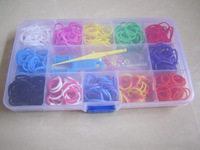 Free shipping 10color Rubber Bands loom kit  set  plastic box set 500pcs bands+1hook+24colourful clips