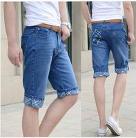Jans Shorts Men 2014 Fashion Leisure Mens Sshort Jean  Summer Casual Pants Blue High Quality  Free Shipping