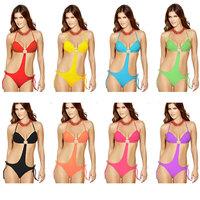 Women Bikini Push Up Padded Monokini strips bow Neck Swimsuit Swimwear mutil color women beach swimwear bikini push up bar