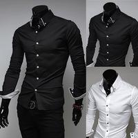 2014 fashion autumn and spring men's shirt  Pure color White, black  shirt M-XL (LC0019)