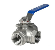 """Free Shipping 1/2"""" Thread BSP 3 way """"L"""" type 304 Stainless Steel Full Port Ball Valve Vinyl Handle(China (Mainland))"""