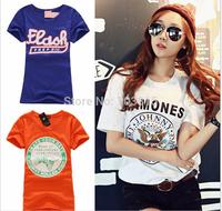 Free size women's fashion cotton short-sleeve T-shirt high quality women o-neck Printed t shirt tops 10pcs/lot