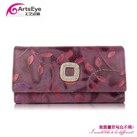 New 2014 Women Fashion Brand Hasp Cowhide Genuine Leather Diamante Wallets , Drop Shopping