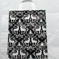 Wholesale, 30*40cm Black elk pattern plastic shopping bags Clothes shoes packaging bags