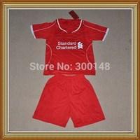 Free Shipping!!!14/15 Livpol Home Kids Red Soccer Jersey, Embroidery logo Livpol Kids Uniform,Children soccer jersey