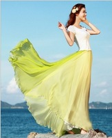 Chiffon double-color joining together two big pendulum skirt women summer cool show slim Bohemian long skirts 5 colors M,L,XL