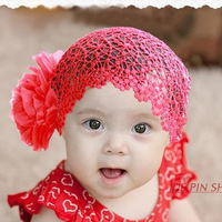 Summer2014 wholesale 2pieces/lot double bigger flower elastic lace net ventilated baby headbands children hair band accessories