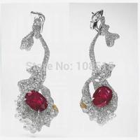 Derongems_Fine Jewelry_Luxury Ruby Stones Petunias Party Earrings_S925 Solid Silver Luxury Brand Earrings_Factory Directly Sale