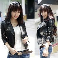 2014 New Autumn Winter Women Outerwear Coats Womens Jackets Black Long-sleeve Slim PU Leather Short Coat Plus Size S-XXXL 40