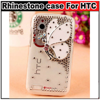 Bling Rhinestone Angel Butterfly Transparent back case For HTC Desire V T328W Desire X T328e,Free shipping