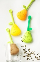 100pcs PEAR lemon Tea Infuser Bags Tea Strainers Silicone Tea Filter spoon freeship strainer H166