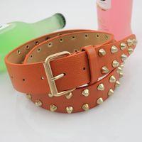 HOT New Arrival Fashionable Buckle Multicolor Men Belt Punk Rock Rivet  Women Leather Belts For Jeans Waist Chain QY237