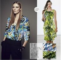 100% pure silk fashion print silk satin cloth 9momme blue green