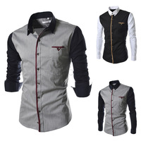 2014 men clothes  men's shirts cotton matching sleeve design   turn_down Collar    shirt M-XL (LC0028)