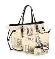 free shipping 2014  women's handbag black big bags Graffiti bag fashion messenger bag women handbag genuine leather brand