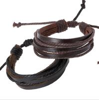 Wrap Charm Genuine Leather Bracelets 2014 Fashion Trendy Braid Leather Bracelets Bangles Braided rope Unisex for Men & Women Hot