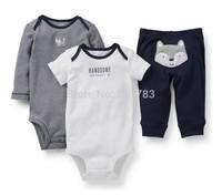 wholesale carter's original baby boy  3pc short sleeve bodysuit with pants set, carter's summer clothes set, 3sets/lot,